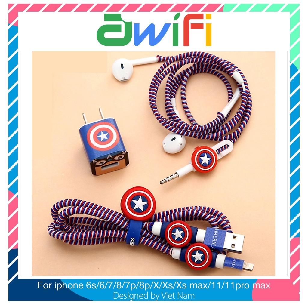 Decal dán, dây quấn, nút 5 in 1 hình thú ( không kèm củ sạc, dây cáp sạc và tai nghe ) - Awifi Case L1-2