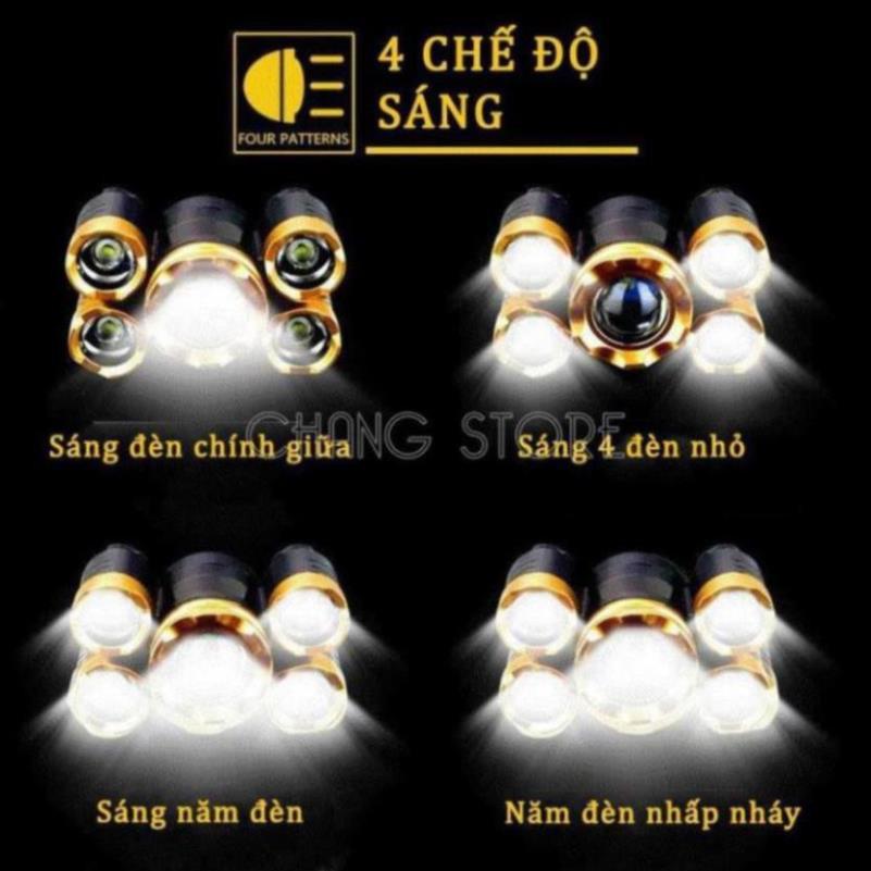 [ Bản Mới, Bóng To Sáng Hơn ] Đèn Pin Đội Đầu 5 Mắt Siêu Sáng, Đèn Pin Siêu Sáng