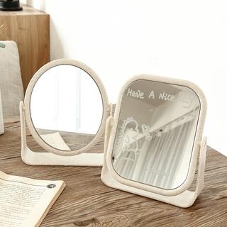 Gương để bàn 2 mặt xinh xinh có màu hồng và màu lúa mạch tặng kèm bút vẽ