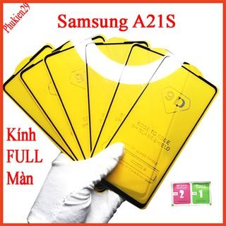 Kính cường lực Samsung A21S full màn hình, Ảnh thực shop tự chụp, tặng kèm bộ giấy lau kính thumbnail