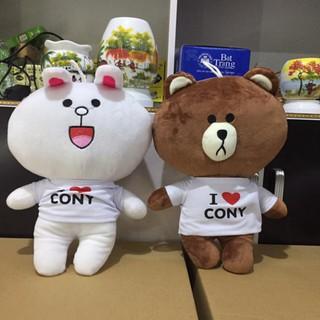 Combo Gấu bông Brown và Thỏ trắng Cony 35 cm – Hàng VNXK cao cấp(sẵn hàng)