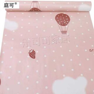 Yêu ThíchGiấy dán tường hạo tiết khinh khí cầu trái dâu hồng - khổ rộng 45cm