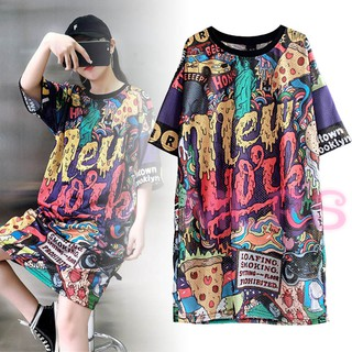 MS Women Tops Printed Half Sleeves Round Neck Long Tops for Summer &VN