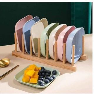 Bộ đĩa lúa mạch FREESHIP Bộ 8 Đĩa lúa mạch an toàn sức khỏe không độc hại bền nhẹ tiện dụng cho gia đình thumbnail