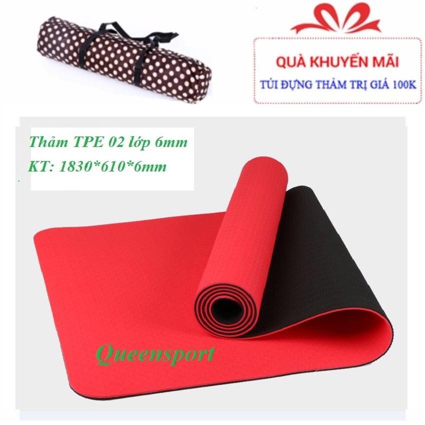 [FREE SHIP] SALE CUỐI NĂM : Thảm Yoga TPE EcoFriendly 2 lớp cao cấp dày 6mm tặng túi đựng và dây buộc thảm chuyên dụng