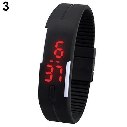 Đồng hồ điện tử tích hợp LED dây đeo Silicon cho nam/nữ