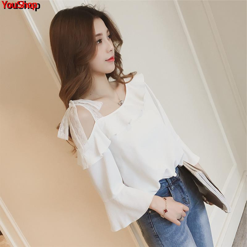 2019 spring new Korean version of the ruffled strap strapless chiffon shirt female ins super fire sweet trumpet sleeve s