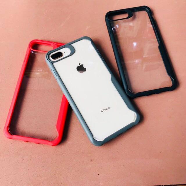 Ốp lưng chống sốc Viseaon trong suốt không ố, viền màu cho iPhone 7 Plus / iPhone 8 Plus