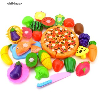 24Pcs/Set Fruit Vegetable Pizza Preschool Kid Role Play Kitchen Cutting Toy Gift