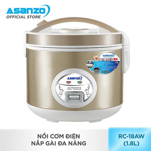 [Nhập ASANZOT7 giảm 10%] Nồi cơm điện nắp gài đa năng Asanzo RC-18AW (1.8 lít)