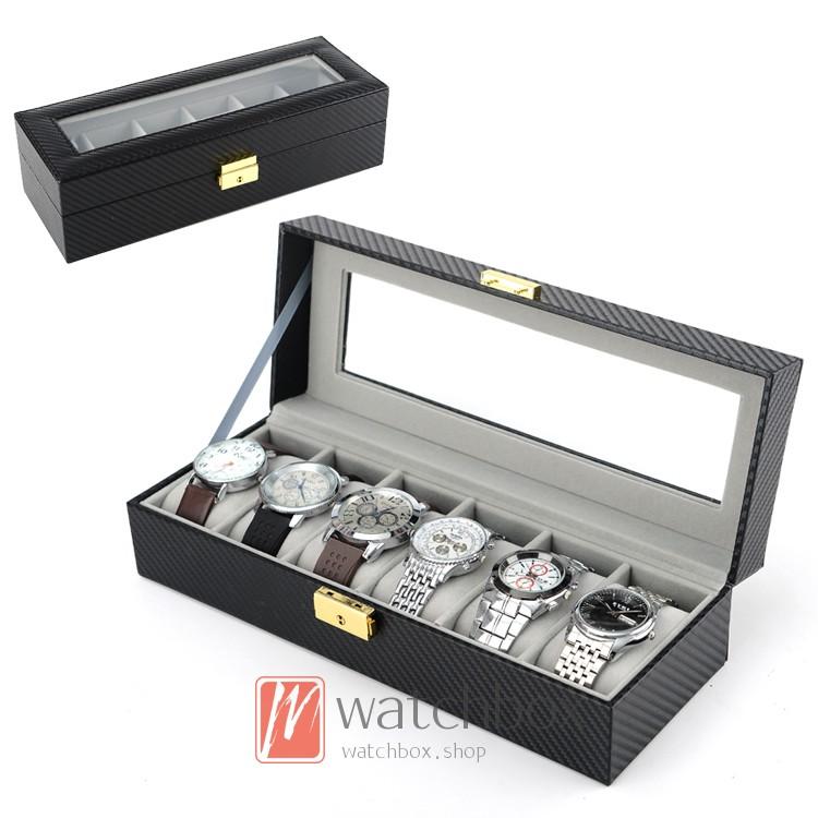 6 grid watch box jewelry box storage box display box with lock