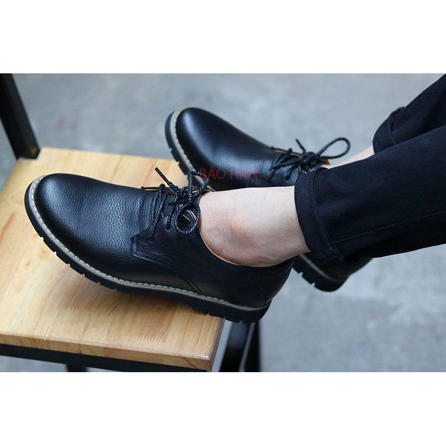 Giày tây nam da bò  trơn đen, trẻ đẹp phong cách lịch lãm
