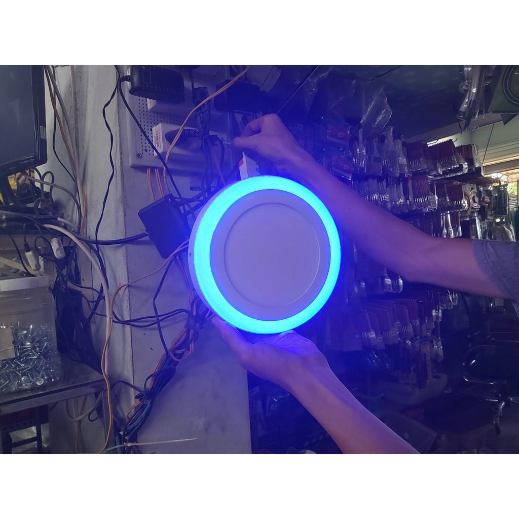 Đèn led ốp trần 12+4W viền xanh dương 3 chế độ