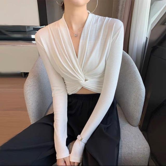 Áo thun xoắn trước sexy sang chảnh
