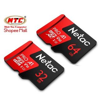 Thẻ nhớ microSDXC Netac Pro 32GB / 64GB U3 4K V30 98MB/s (Đỏ) - Hãng phân phối