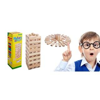 Bộ đồ chơi rút gỗ Wiss Toy 54 thanh kèm 4 con súc sắc an toàn cho bé