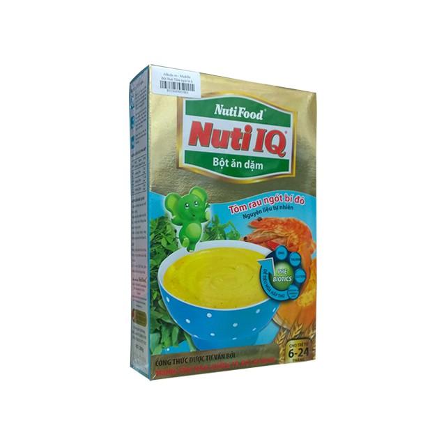 Bột ăn dặm Nuti Tôm rau ngót bí đỏ 200g( 2 hộp tặng chén xinh cho bé)
