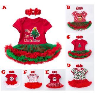 Set Đầm Xoè Tutu + Băng Đô Cài Tóc Phong Cách Giáng Sinh Cho Bé Gái thumbnail