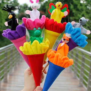 SDWC 6Pcs Story Telling Time Animal Doll Telescopic Stick Educational Puppet Kids Toy