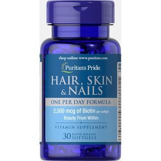 Viên uống đẹp da - ngừa rụng tóc - nứt gãy móng chân tay Puritan s Pride Hair skin nails 30v thumbnail