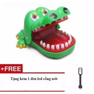 Đồ chơi trẻ em – Đồ chơi khám răng cá sấu + Tặng kèm 1 đèn led cổng USB