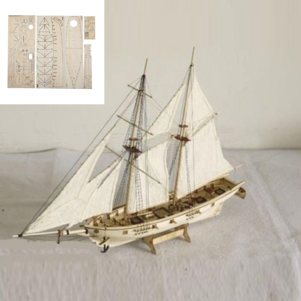 1:120 Scale Wooden Wood Sailboat Ship Kits Home Model Decoration Boat Gift Toy