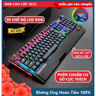 Bàn Phím Cơ Gaming CAO CẤP K1000 FULL LED RGB Có Kê Tay, Blue Switch Gõ Cực Đã Cho Laptop Máy Tính PC, Cổng USB