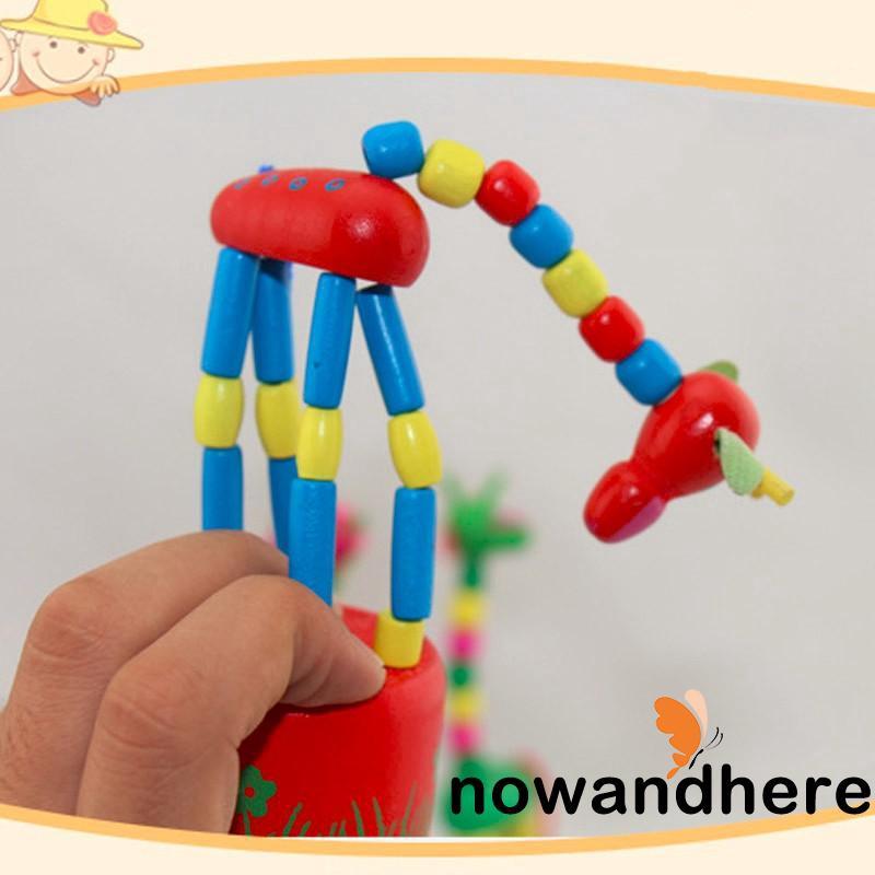 ONA-Toddler Children Learning Toys Wooden Animal Giraffe Baby Kids