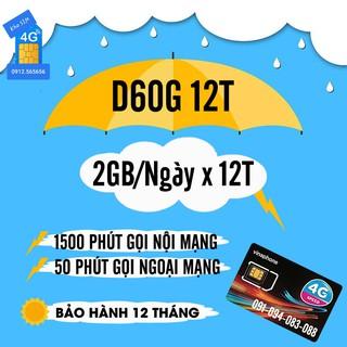 Sim Vina D60G 12 Tháng Miễn Phí 720GB Data 4G và Gọi Điện Miễn Phí , Bảo Hành 12 Tháng