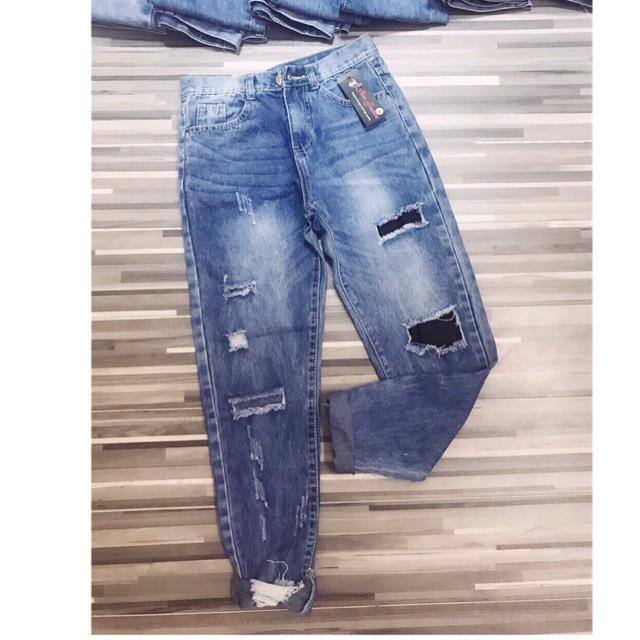 Jeans rách đắp vải kèm ảnh thật video