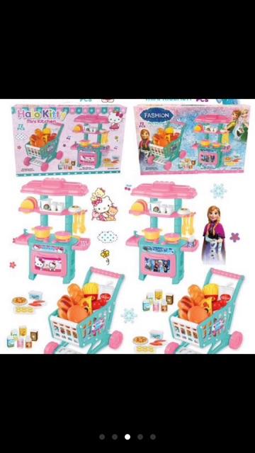 Combo 2in1: Đồ Chơi Nhà Bếp Mini và Xe đẩy siêu thị cho bé