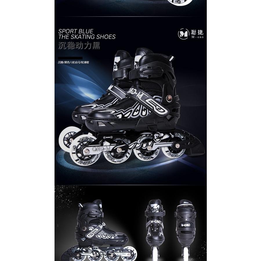 Giày Patin M- Gro 918H Bánh CAO Su Phát Sáng 8 bánh cao cấp NEW (Đen M,L)