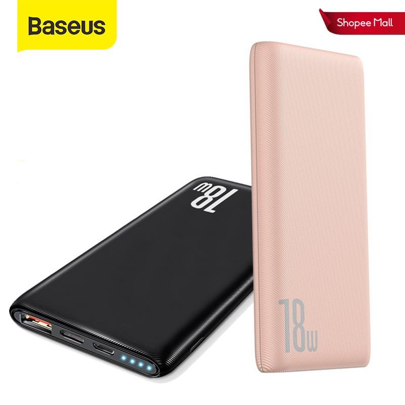 Sạc dự phòng Baseus 18W 10000mAh tốc độ nhanh kết nối cổng USB3.0 cho iPhone Xiaomi