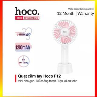 Quạt Mini Cầm Tay Sạc Pin Hoco F12 3 Tốc Độ Gió Siêu Mát - SmartShop