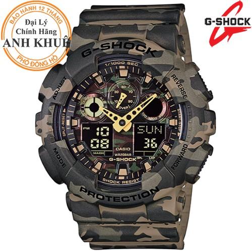 Đồng hồ nam dây nhựa G-SHOCK Casio chính hãng Anh Khuê GA-100CM-5ADR