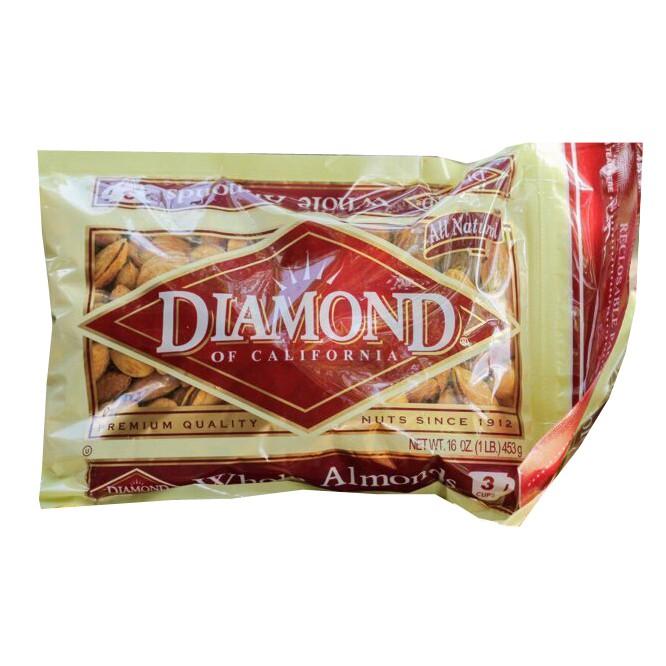 Hạnh Nhân Mỹ Rang Bơ Diamond túi 453Gr
