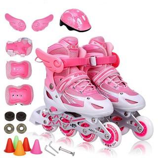 Combo Giày Patin Cho Bé Gái Màu Hồng và Bộ Bảo Hộ An Toàn (3-8 tuổi)