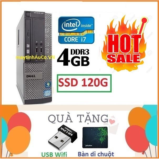 [Mã ELLAPDESK giảm 5% đơn 3TR] Máy tính đồng bộ DELLl Optiplex Core i7 3770 / 4G / SSD 120G . Tặng ổ cứng HDD 250G