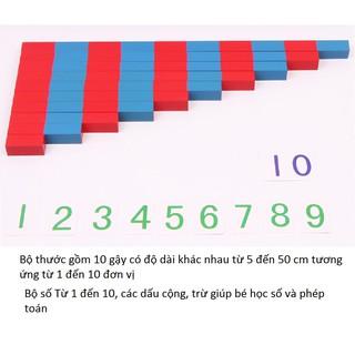 Bộ thước học toán từ 5cm đến 50 cm phương pháp montessori