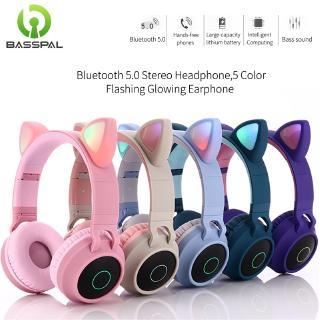 Tai Nghe Chụp Tai Basspal Công Nghệ Bluetooth 5.0 Không Dây Trang Trí Đèn LED Thiết Kế Tai Mèo Dễ Thương Hỗ Trợ Thẻ TF