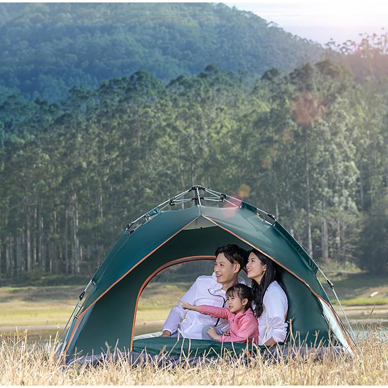 Lều cắm trại dã ngoại 4 người  cỡ lớn lều câu cá đi phượt tự động giá đỡ thủy lực chống nắng chống mưa thoáng mát