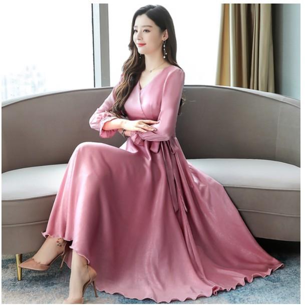 Đầm dạ tiệc cổ chữ V thanh lịch phong cách Hàn Quốc cho nữ