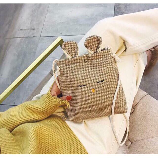 Túi cói tai thỏ 16x20cm 2 màu dễ thương - TCT01