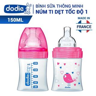 Bình sữa Dodie tam giác thông minh núm ti dẹt chất liệu nhựa BPA, BPS (0%) - 150ml - hoạ tiết ngẫu nhiên thumbnail