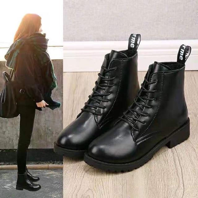 Giày bốt cổ trung có lót lông boot nữ
