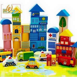 Bộ đồ chơi lắp ghép mô hình thành phố bằng gỗ