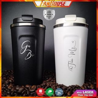 Cốc giữ nhiệt 510ml Fan House ly coffee holic inox 304, bình nước giữ nhiệt 12h khắc tên theo yêu cầu tặng que cọ