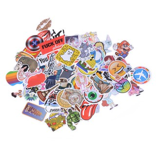 100Pcs Mixed Funny Cartoon Doodle Decals Luggage Laptop Skateboard DIY Stickers