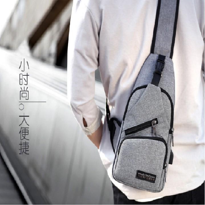 Túi đeo chéo nam, túi bao tử thời trang, có sạc pin điện thoại