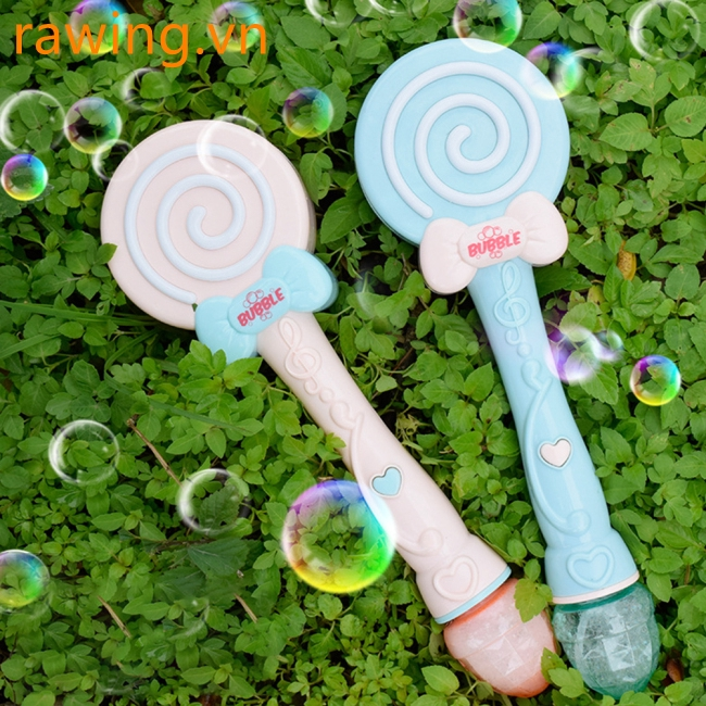 Children Toy Electric Cartoon Lollipop Bubble Maker with Music Light without Bubble Water